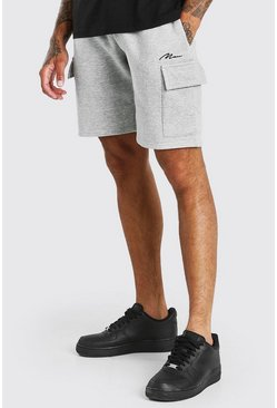 Short cargo mi-long Signature MAN, Gris chiné