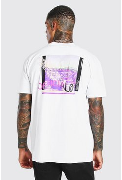 White Oversized MAN Official Photo Back Print T-Shirt