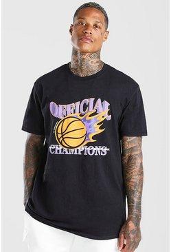 Black Oversized MAN Official Basketball Print T-Shirt