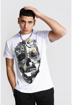 White Floral Skull Graphic T-Shirt