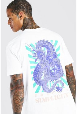 White Oversized Oriental Dragon Back Print T-Shirt