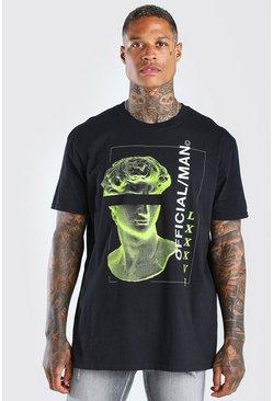 Black Oversized MAN Official Statue Print T-Shirt