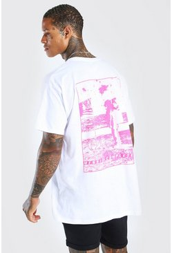 White Oversized Moonwalker Back Print T-Shirt