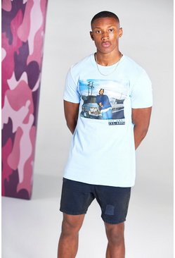 Blue Oversized Ice Cube Car Print T-Shirt