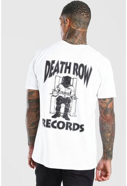 T-shirt officiel imprimé Deathrow devant et derrière, Blanc