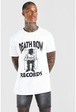 White Deathrow Front Print License T-Shirt