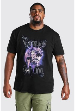 Black Big and Tall Young Thug  Skull License T-Shirt