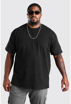 Black Big and Tall Wave Graffiti Back Print T-Shirt