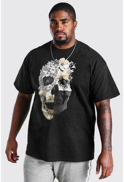 Black Big and Tall Spliced Skull Print T-Shirt