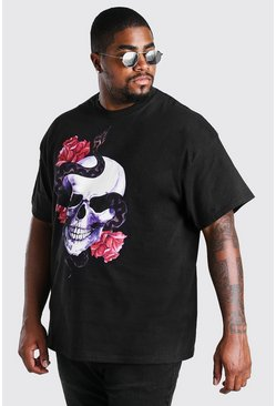Black Big and Tall Snake Skull Print T-Shirt