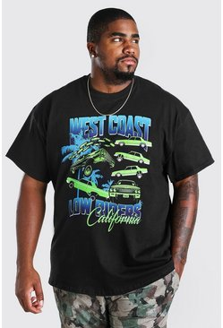 Black Big & Tall West Coast Low Riders Print T-Shirt