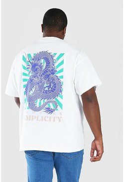 White Big and Tall Dragaon Back Print T-Shirt