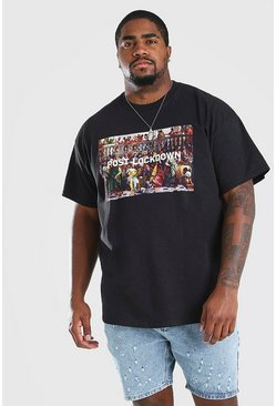 Black Big and Tall Post Lockdown Print T-Shirt