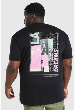 Black Big and Tall LA Dreams Layered Back Print