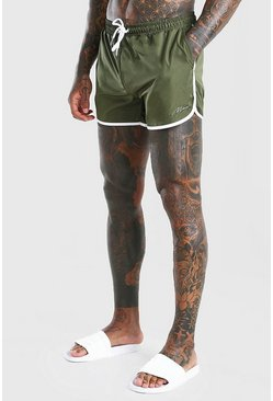 Green Runner Swim Shorts With MAN Signature Embroidery