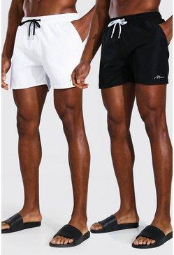 Multi MAN Signature 2Pk Plain Mid Length Swim Shorts