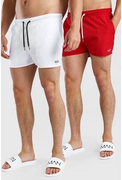 Multi Original MAN 2Pk Plain Short Length Swim Shorts