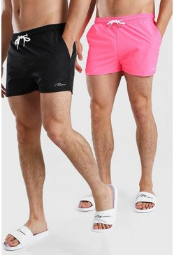 Multi MAN Signature 2Pk Plain Short Length Swim Shorts