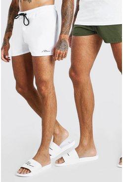 Multi MAN Signature 2Pk Plain Short Length Swim Shorts