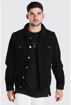 Black Fully Borg Lined Denim Jacket