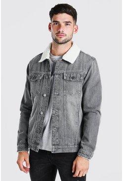 Grey Fully Borg Lined Denim Jacket