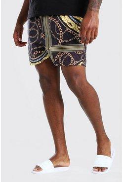 Black Big & Tall Baroque Print Mid Length Swim Short