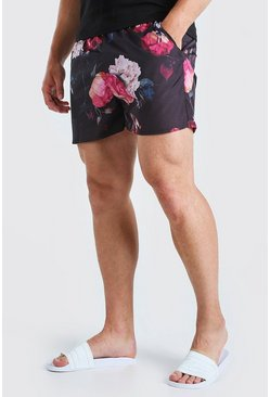 Black Big & Tall Floral Print Short Length Swimshort