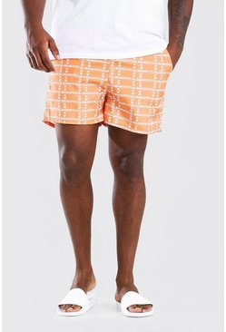 Orange Big & Tall MAN Vertical Print Mid Swim Short