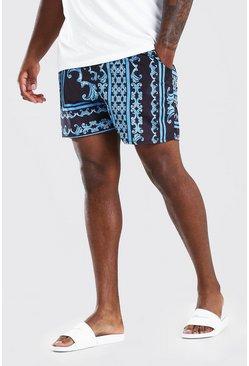 Navy Big & Tall Border Print Mid Length Swim Shorts