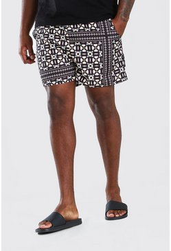 Black Big & Tall Tile Print Short Length Swim Shorts