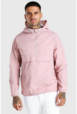 Pink Nylon Overhead Front Pocket Jacket