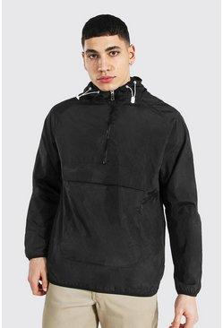 Black Nylon Overhead Front Pocket Jacket