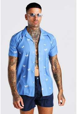 Blue Short Sleeve Butterfly Print Shirt