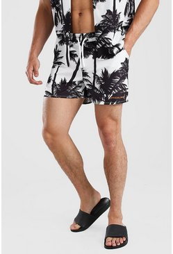 White Man Official Palm Print Mid Length Swim Shorts
