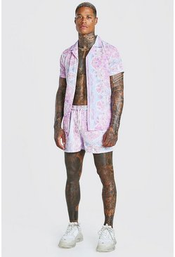 Pale pink Man Official Paisley Print Shirt & Swim Set