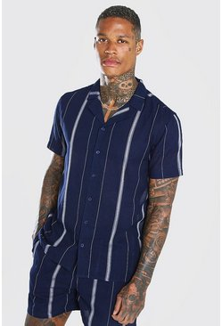 Navy Short Sleeve Revere Collar Linen Stripe Shirt