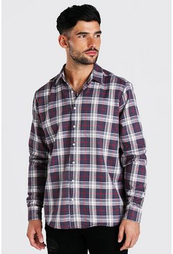 Charcoal Long Sleeve Oversized Brushed Check Shirt