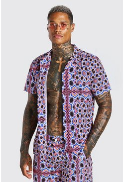 Multi Short Sleeve Revere Collar Abstract Print Shirt