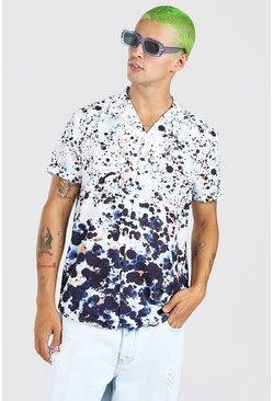 Multi Short Sleeve Revere Ombre Animal Print Shirt