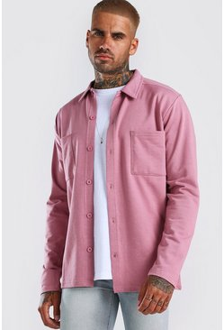 Pink Jersey Utility Button Through Overshirt