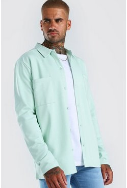 Mint Jersey Utility Button Through Overshirt