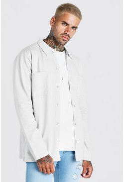 Grey Jersey Utility Button Through Overshirt