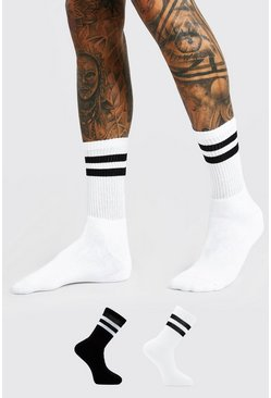 Multi 2 Pack With 2 Stripes Sport Socks