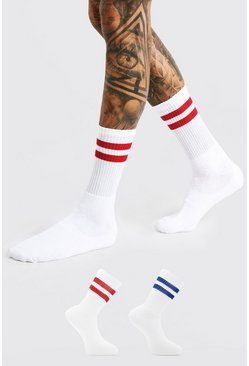 White 2 Pack With 2 Stripes Sports Socks