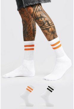 White 2 Pack With 2 Stripes Sport Socks