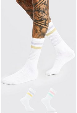 White 2 Pack With Coloured Stripe Sport Socks