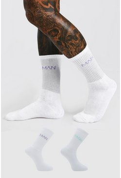 White 2 Pack MAN Dash Logo Sport Socks