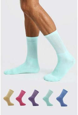 5 Pack multi Colour Plain Sport Socks