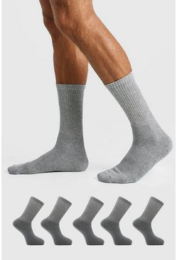 Grey marl 5 Pack Plain Sport Socks