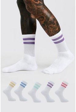 White 5 Pack Multi Stripe Sport Socks